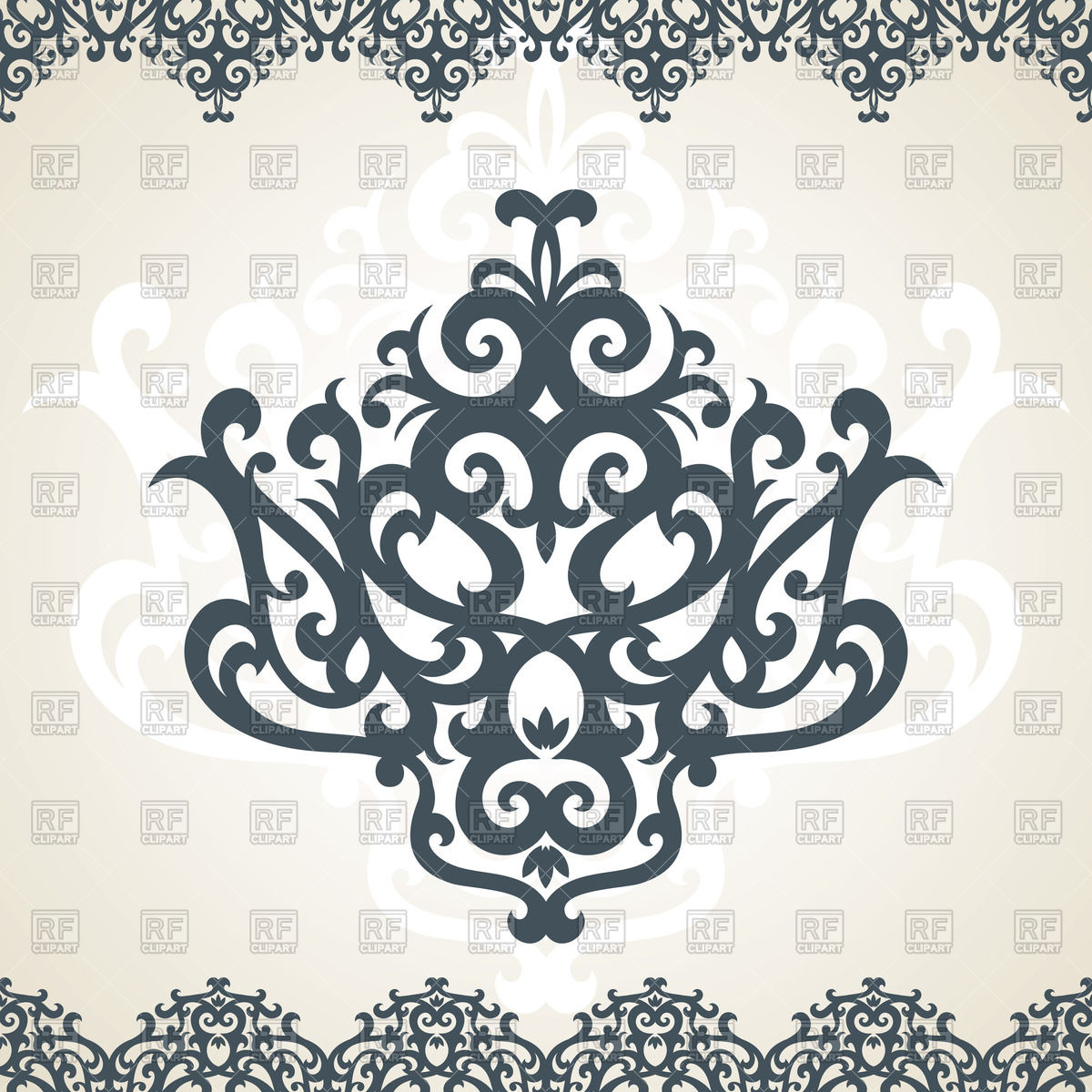 1200x1200 Damask Ornament And Border Vector Image Vector Artwork Of