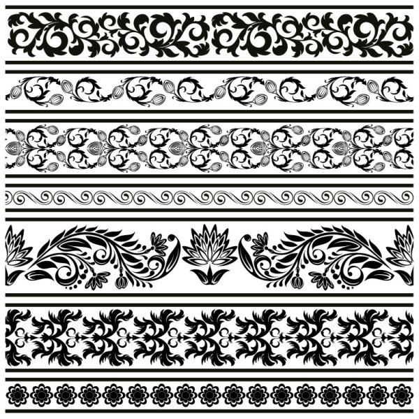 600x599 Black Seamless Lace And Ornaments Vector 04 Free Download