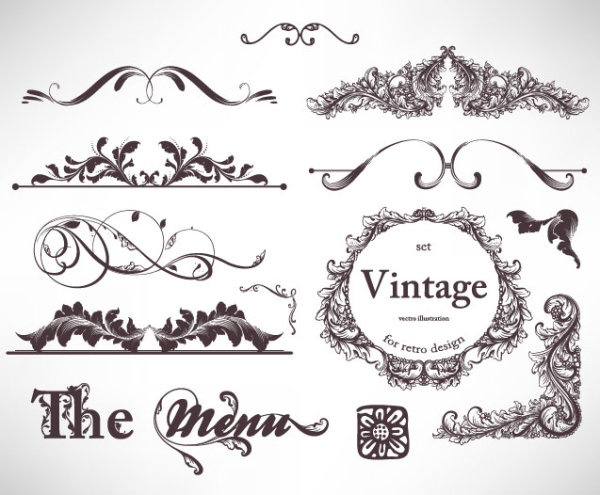 600x495 Retro Decorative Ornaments Frames And Borders Vector Free Vector