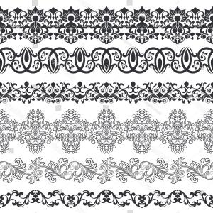 300x300 Seamless Floral Border Vector Template Ornament Shopatcloth
