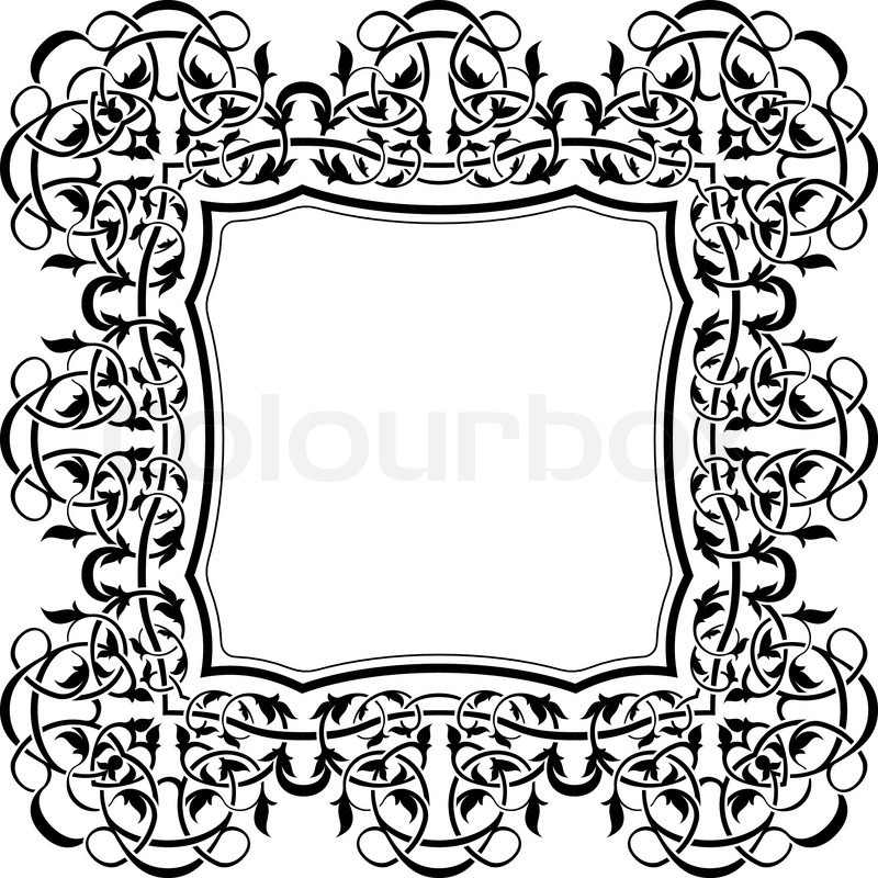 800x800 Black Frame With Ornamental Border Stock Vector Colourbox