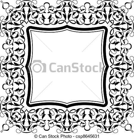 450x470 Black Frame With Ornamental Border Vector Clip Art