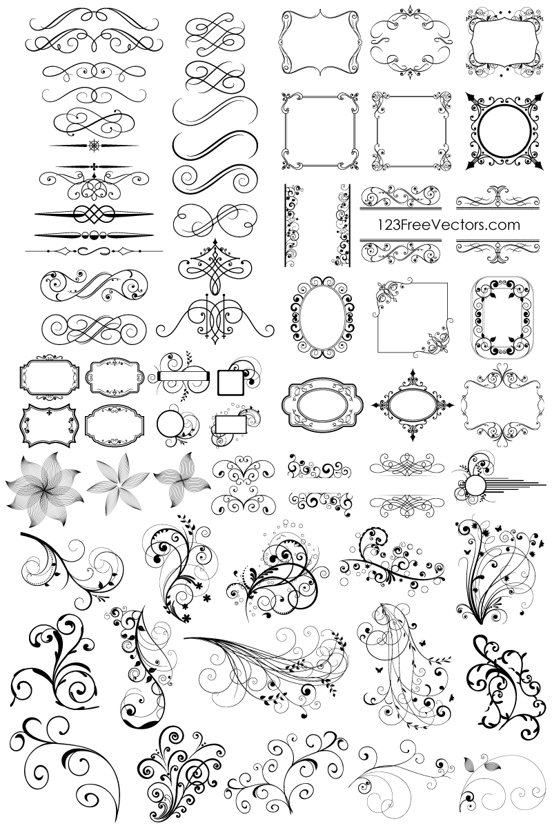 800x1200 Free Download 65 Floral Decorative Ornaments Vector Pack. Free