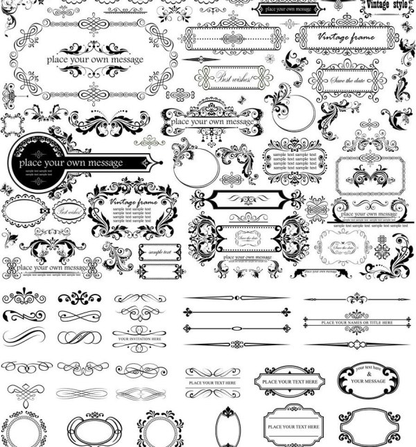 600x645 Ornament Frame With Border And Calligraphic Vector Free Download