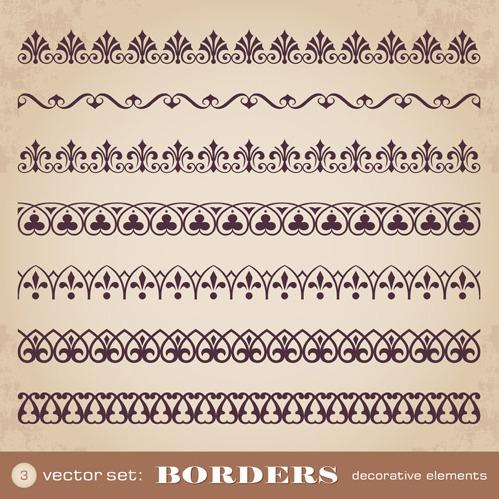 499x499 Ornaments Borders Decorative Elements Vector Set 05 Free Vectors