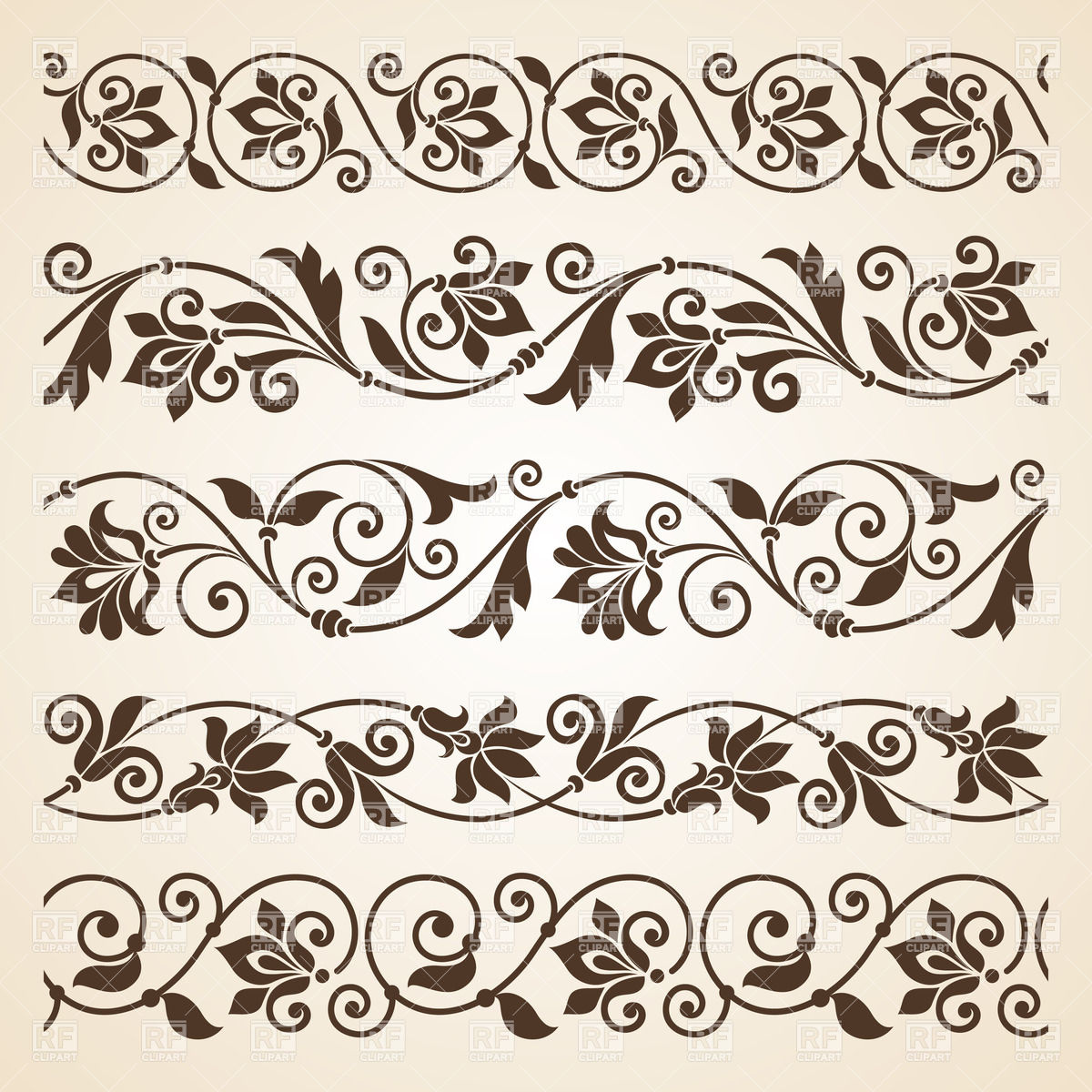 1200x1200 Set Of Five Curly Vintage Floral Borders Vector Image Vector