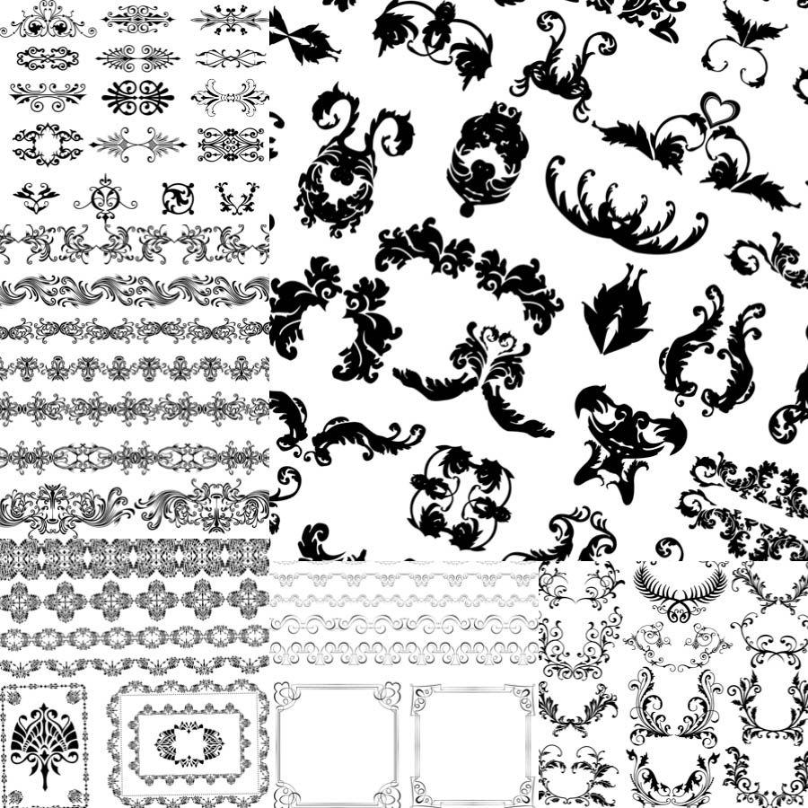 900x900 Vintage Ornamental Borders Vector Vector Graphics Designs On