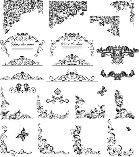 484x549 Floral Ornaments Border And Corner Vector Free Vector In Adobe