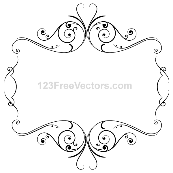600x600 Floral Ornament Frame Vector Graphics By 123freevectors