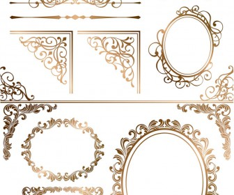 336x280 Gold Ornamental Elements And Frames Vector 2018 Free Download