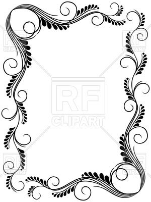 300x400 Abstract Floral Black And White Frame Ornamental Frame Vector
