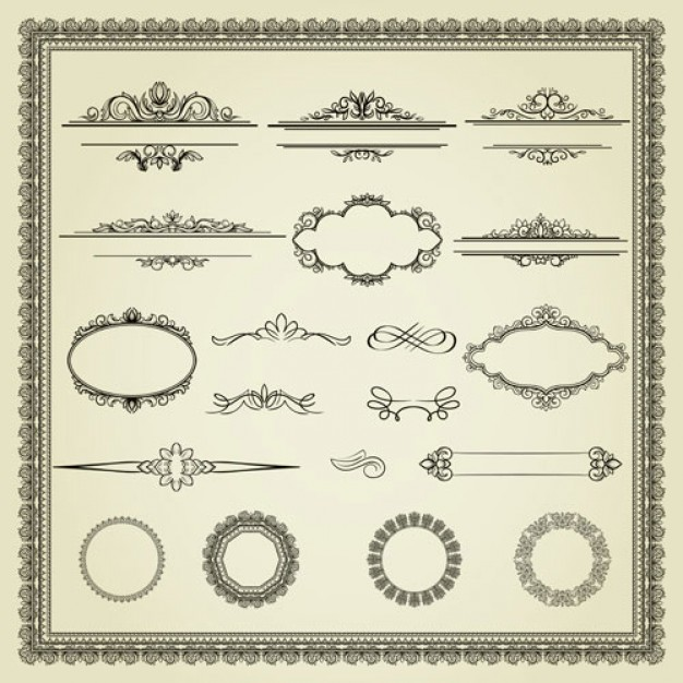 626x626 Page Ornaments And Frame Vector Set