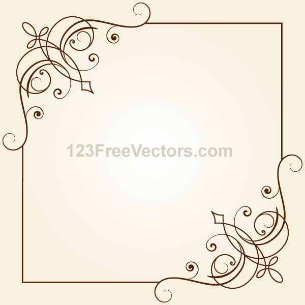 600x600 Vintage Floral Ornament Frame Vector Graphics By 123freevectors On
