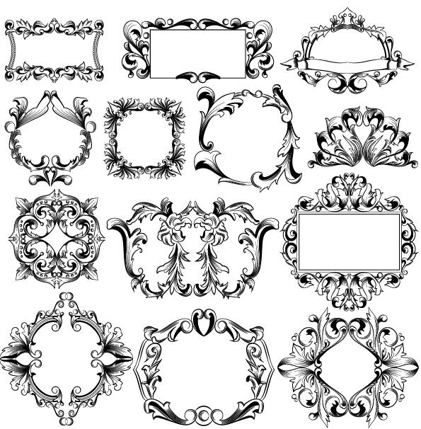 595x606 Classical Ornaments Frame Vector Set Free Download