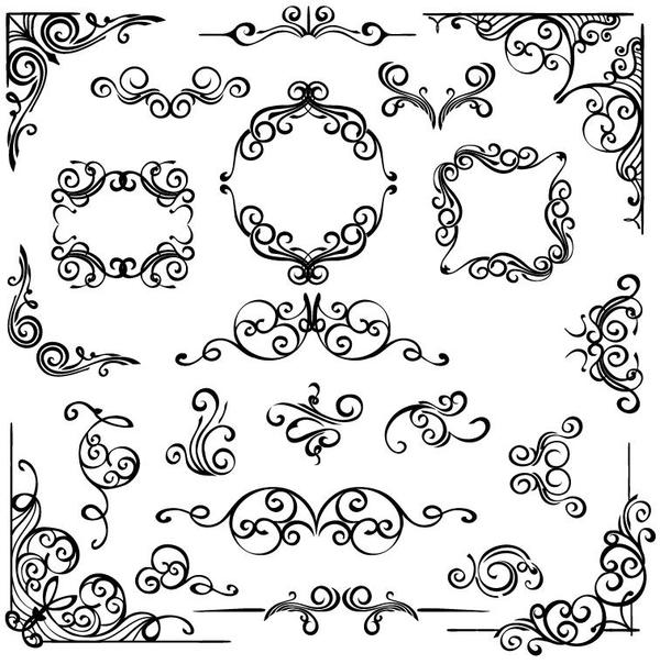 600x604 Corner Ornaments With Frame Vector Free Download