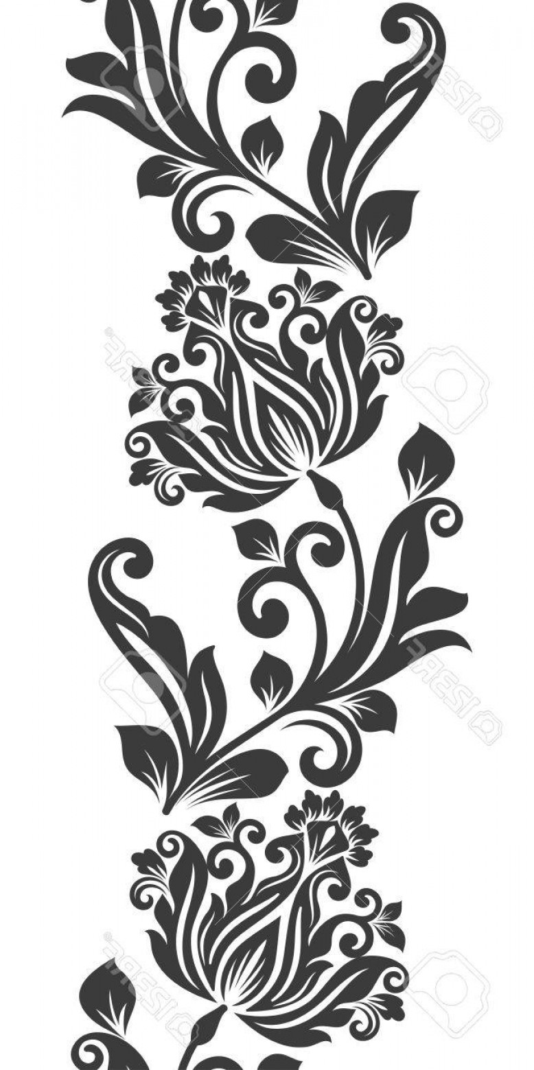 778x1560 Photostock Vector Seamless Black And White Vertical Flower
