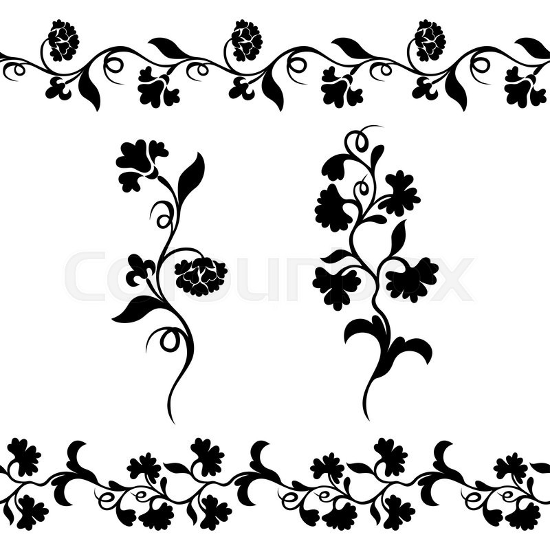 800x800 Seamless Floral Border Pattern, Silhouette Design Plant Ornament
