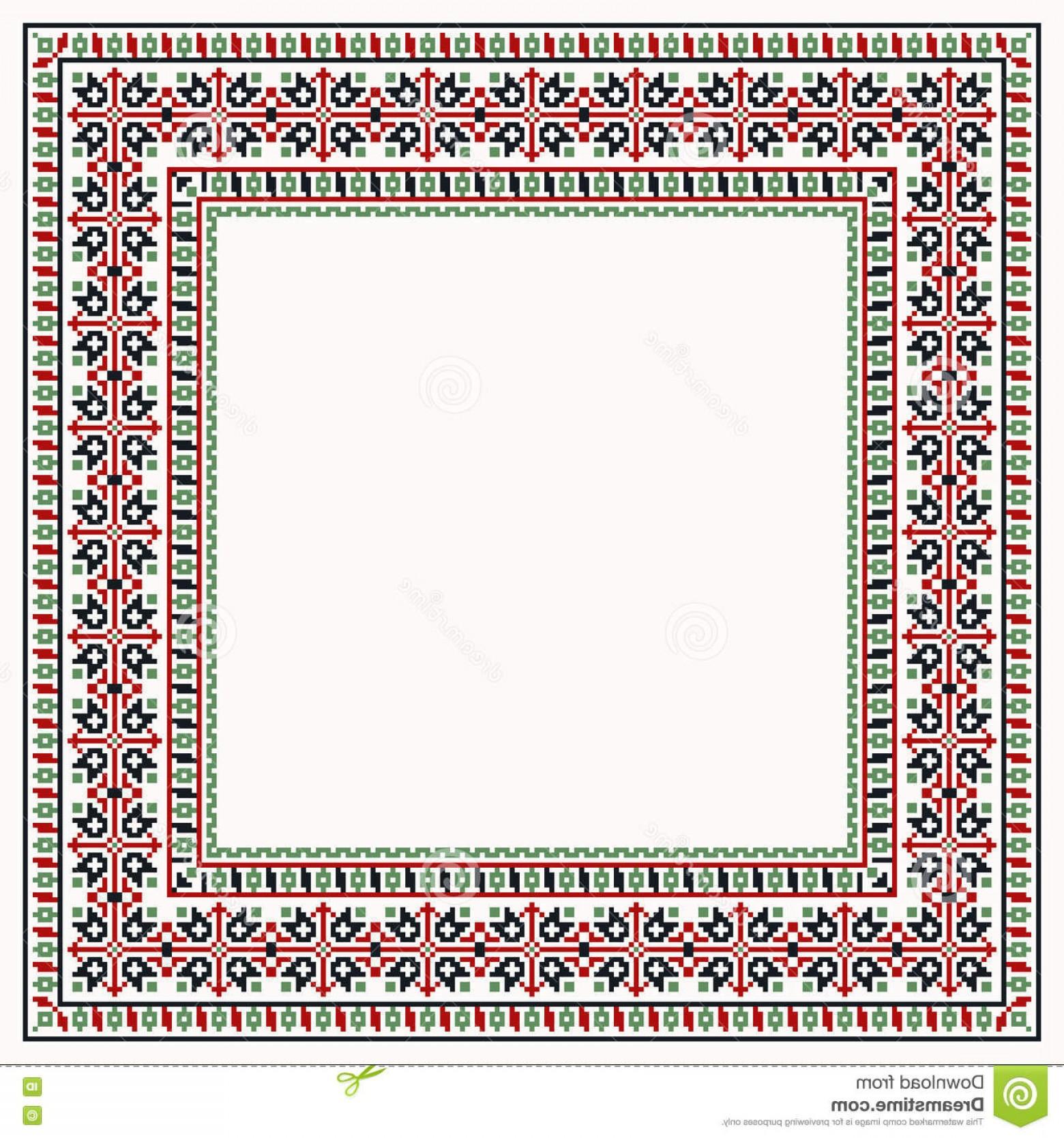 1560x1668 Stock Illustration Cross Stitch Colorful Border Ethnic Ornament
