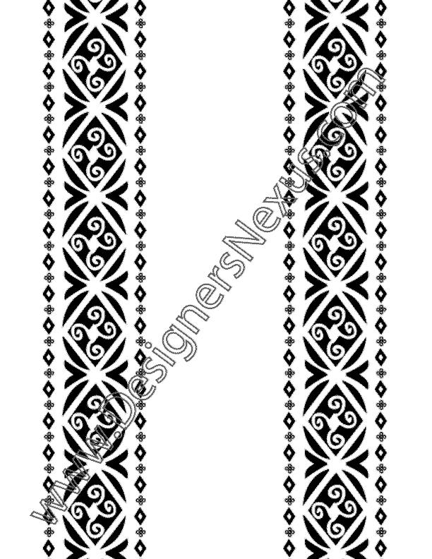 612x792 Vector Ornament Border Art With Tribal Design Elements V7