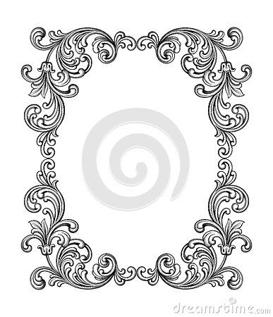 387x450 Vintage Baroque Victorian Frame Border Monogram Floral Ornament