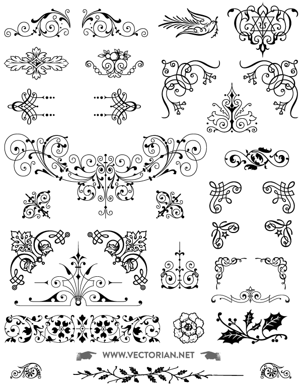 600x765 Download Free Vintage Vector Ornaments Pack