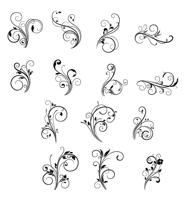 387x430 Floral Swirls Ornament Vector Free Download