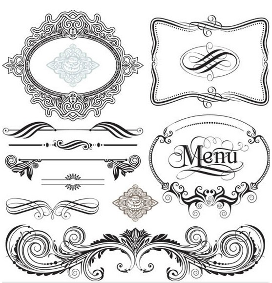 557x579 Swirl Ornament Frames Ai Format Free Vector Download