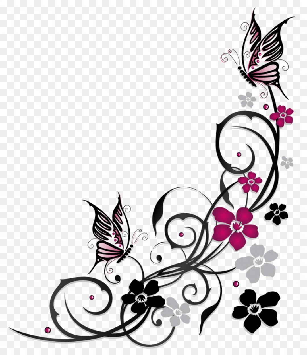 1080x1248 Png Butterfly Flower Ornament Vector Flowers Butterfly Rongholland