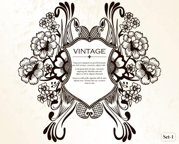 600x482 Vintage Heraldic Shield With Floral Ornament Vector Set 1 Vector