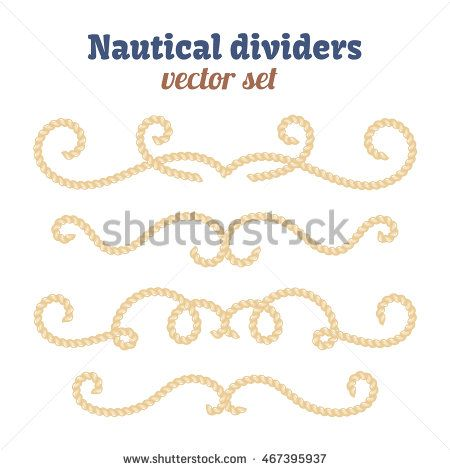 450x470 Nautical Text Dividers. Decorative Vector Knots. Divider With Rope