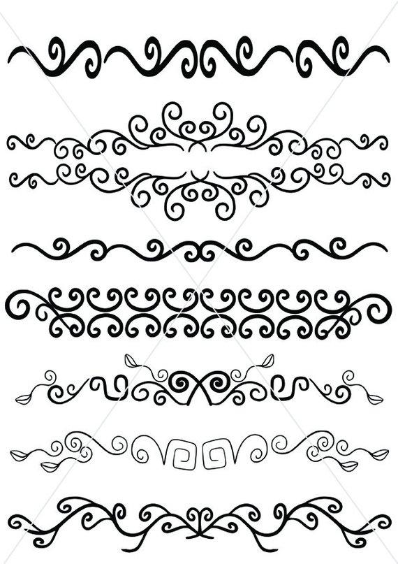 570x807 Tribal Text Dividers Vector Lines Maori Designs Ornamental Etsy