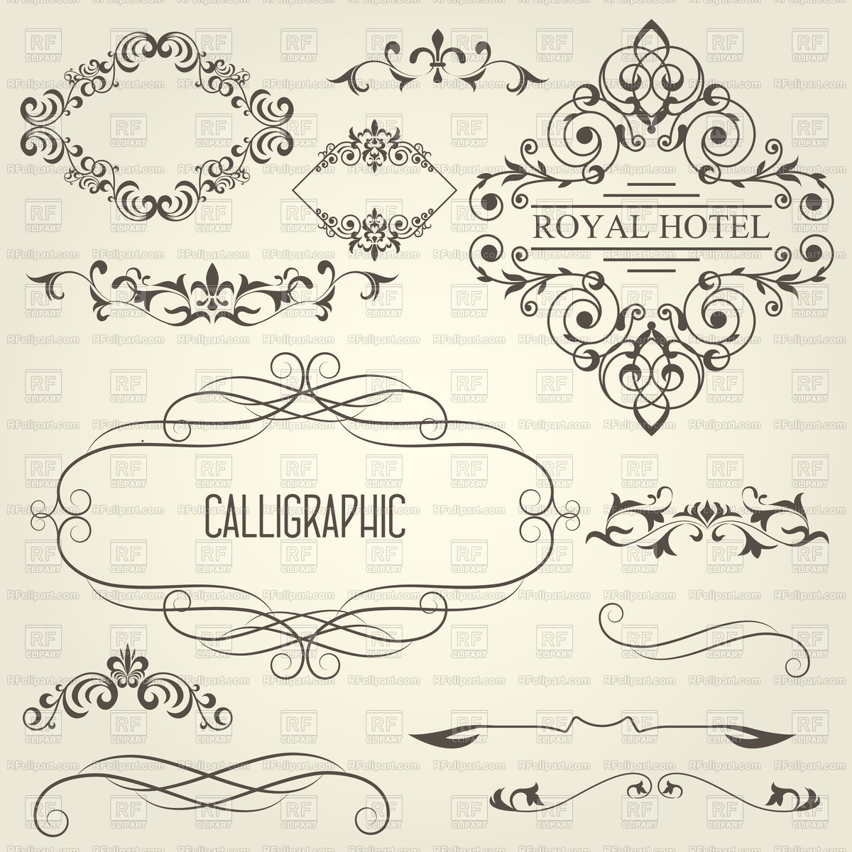 1200x1200 Vintage Calligraphic Frames With Vignettes And Ornamental Dividers