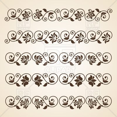 400x400 Vintage Curly Floral Dividers Vector Image Vector Artwork Of