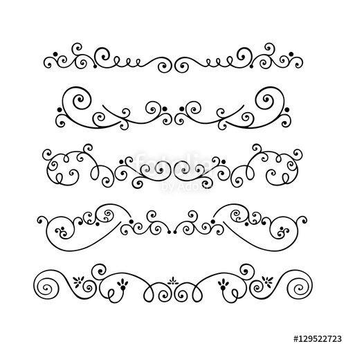500x500 Collection Of Swirl Hand Drawn Text Dividers Vector. Decorative