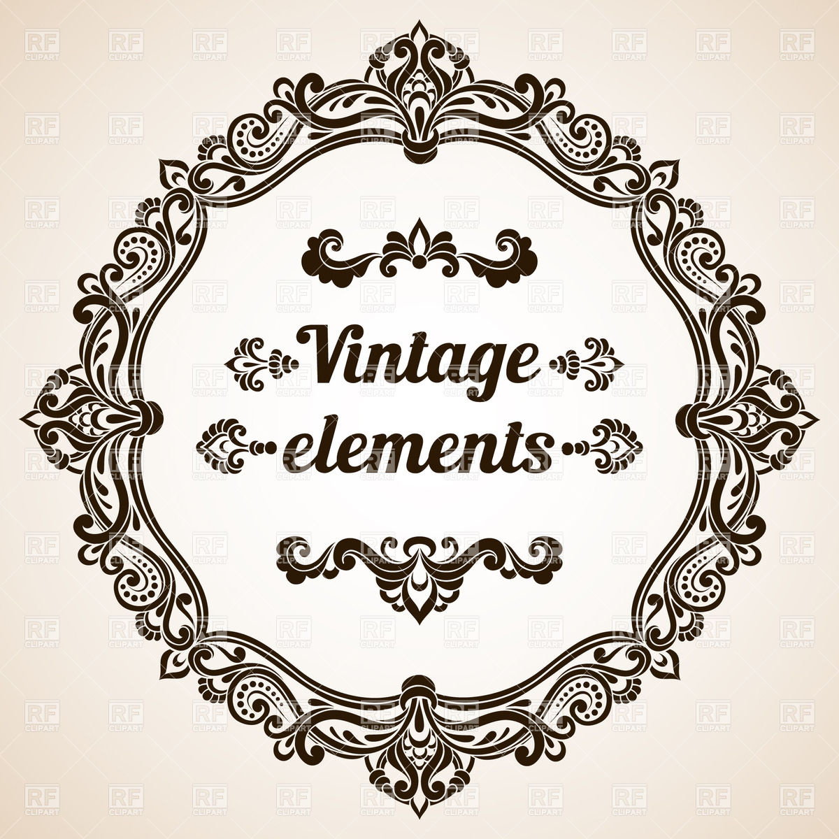 1200x1200 Round Vintage Frame With Ornate Border Vector Image Vector