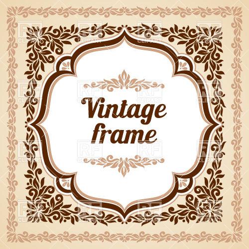 500x500 Square Vintage Frame With Ornate Border And Vignette Vector Image