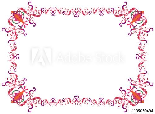 500x367 Decorative Oriental Frame For Purim Festival Invitation