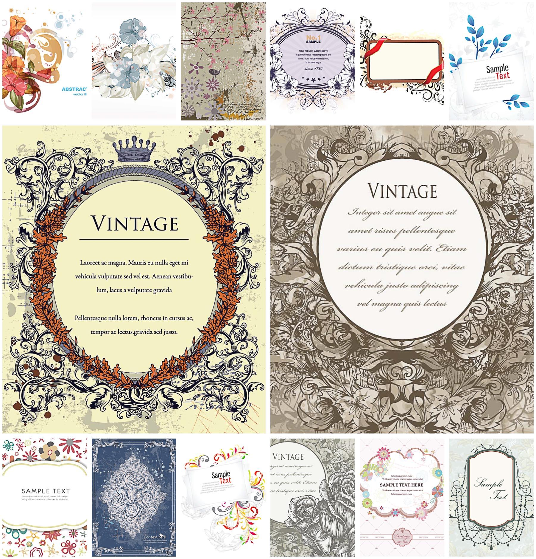 1800x1875 Ornate Frame Floral Card Vector Free Download