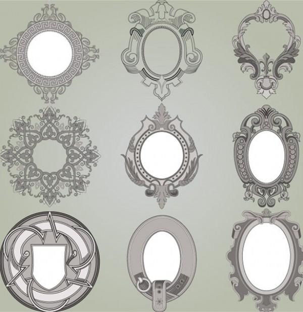 600x616 9 Ornate Vintage Scroll Frames Vector Set