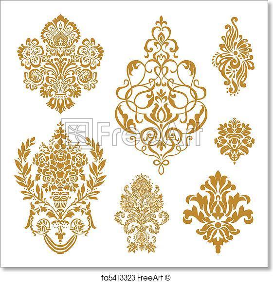 561x581 Free Art Print Of Vector Gold Damask Ornament Set. Set Of Ornate