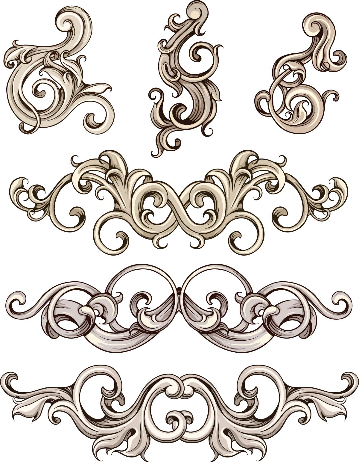 1200x1542 Ornate Elements For Decoration Invitations Set Free Download
