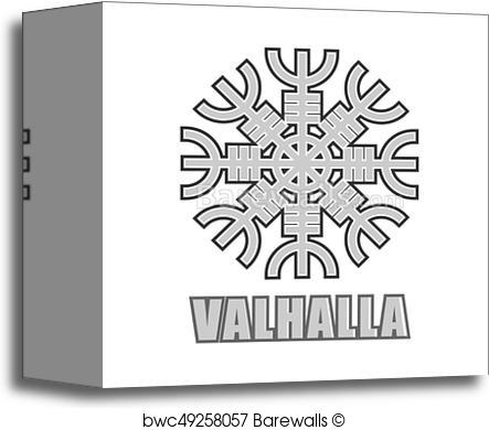443x390 Canvas Print Of Viking Valhalla Ornate Vector Mystic Symbol Of