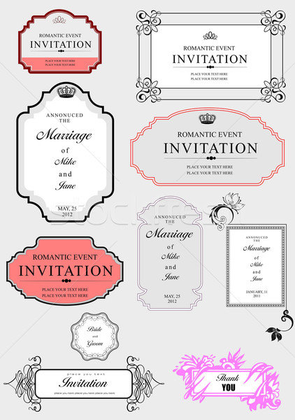 422x600 Set Of Ornate Vector Frames And Ornaments With Sample Text. Perf