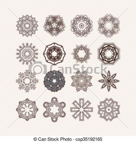 450x470 Set Of Ornate Vector Mandala Symbols. Gothic Lace Tattoo. Celtic