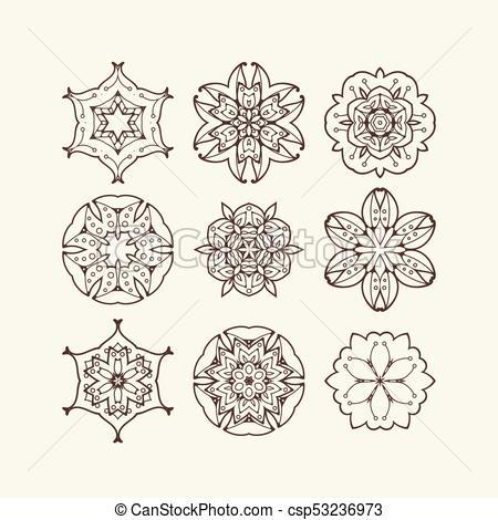 450x470 Set Of Ornate Vector Mandala Symbols. Mehndi Lace Tattoo. Oriental