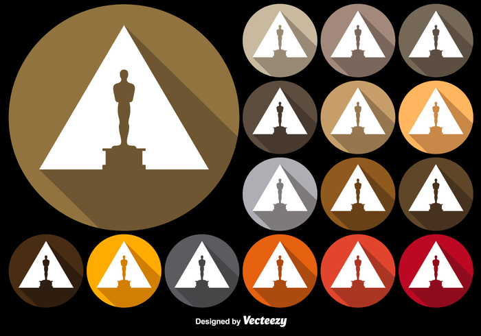 700x490 Vector Colorful Buttons With Oscar Statuette Icon