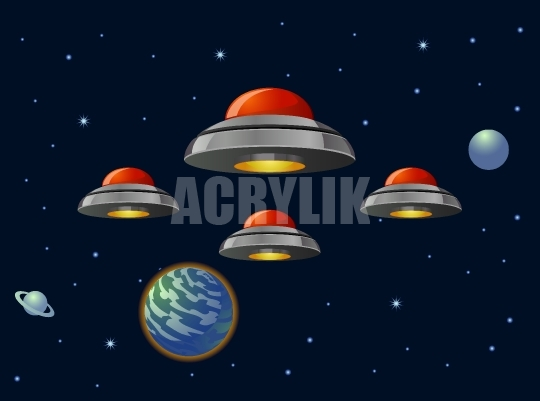 540x401 Alien Ufo Fleet In Outer Space Vector