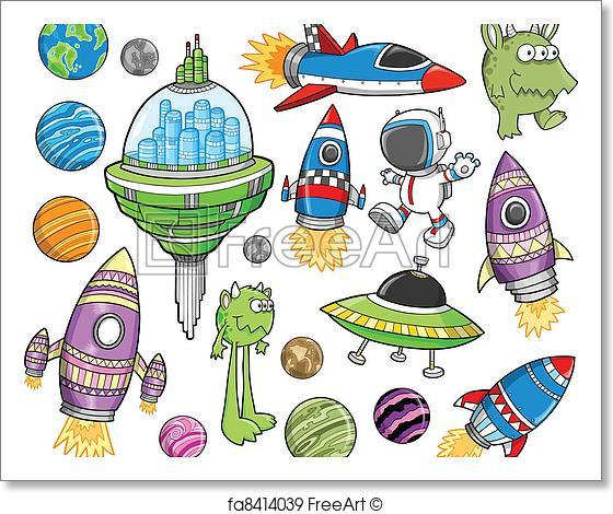 560x470 Free Art Print Of Cute Outer Space Vector Design Set. Cute Outer