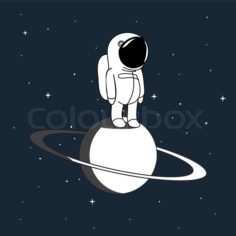 800x800 Small Astronaut In Outer Space Vector Illustration. Spaceman On