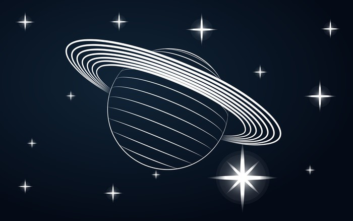 700x438 Saturn Planet Drawing In Blue Outer Space Vector Wall Mural